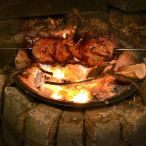Fire Pit Chicken Spit Roast