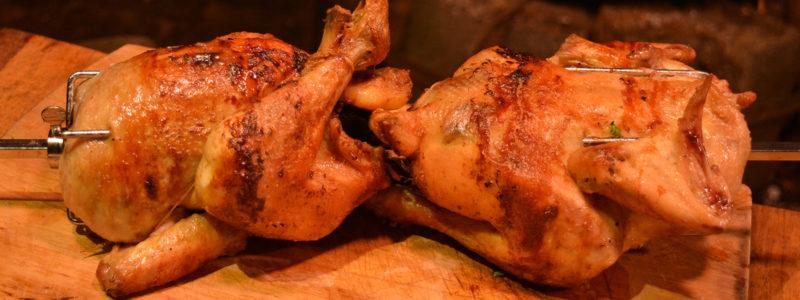 Spit roast garlic chicken