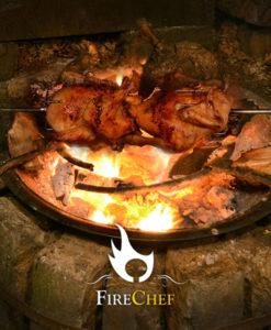 Fire pit Spit Roast chicken